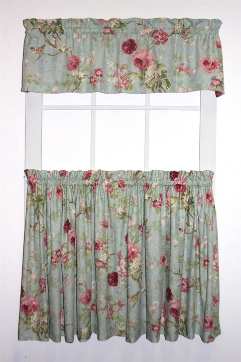 Balmoral Gardens Floral Print Tailored Tiers & Valance Window Curtains Set