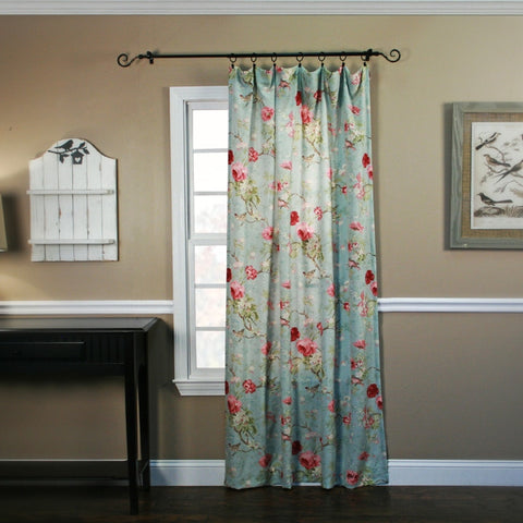 Balmoral Floral Crushed Taffeta Fabric Panel Window Curtain