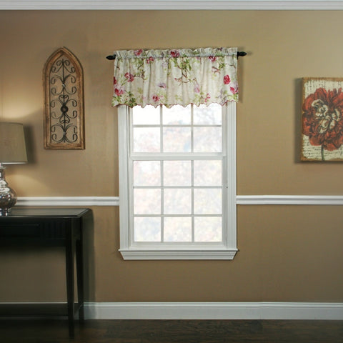 Balmoral Floral Crushed Taffeta Fabric Valance Window Curtain