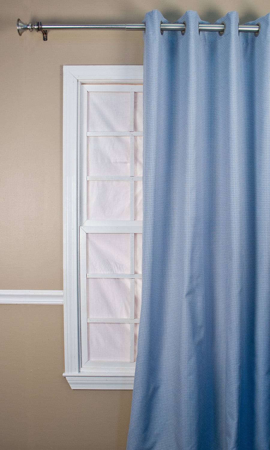 Landis Mini Check Lined Grommet Top Panels Window Curtains | Window ...