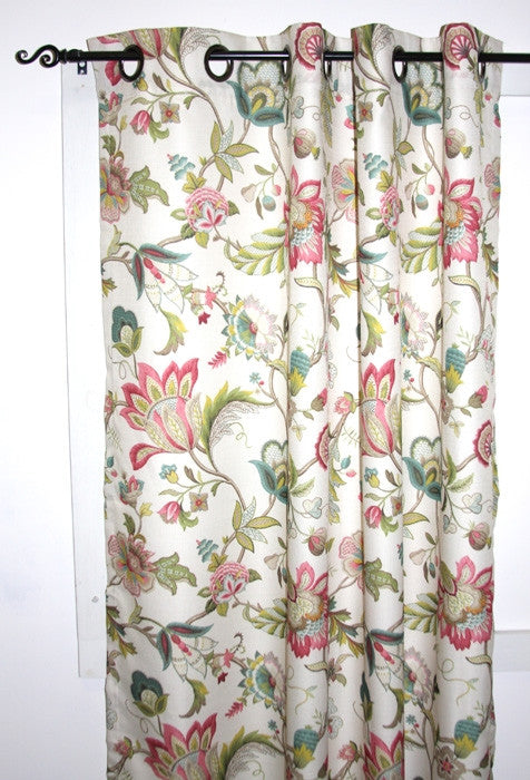 Brissac Jacobean Floral Print Lined Grommet Top Panel Window Curtain
