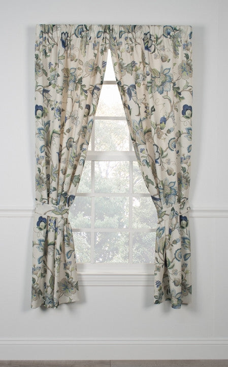 Nice Brissac Jacobean Floral Print Tailored Panels Window Curtains With Tie Backs