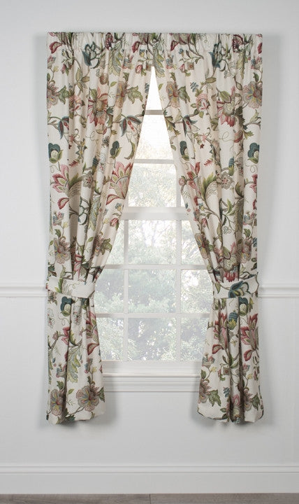 Brissac Jacobean Floral Print Tailored Panels Window Curtains with Tie Backs