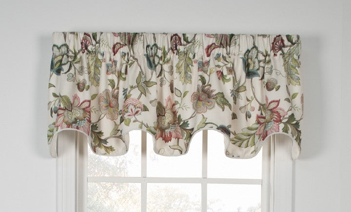Brissac Jacobean Floral Print Lined Scallop Valance Window Curtain