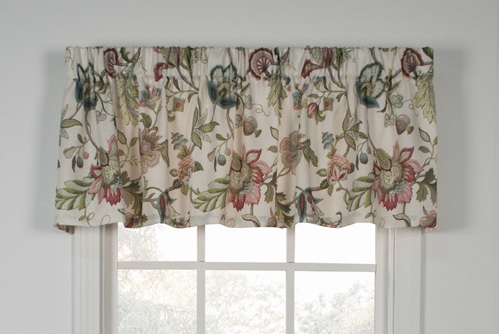 brissac jacobean floral print tailored valance window curtain