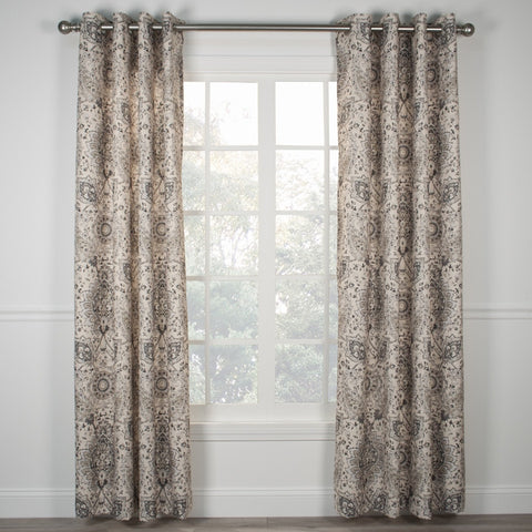 Cadogen Distressed Medallion Print Lined Grommet Top Panel Window Curtain