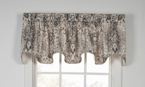 Cadogen Distressed Medallion Print Lined Scallop Valance Window Curtain
