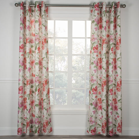 Arden Water Color Floral Print Lined Grommet Top Panel Window Curtain