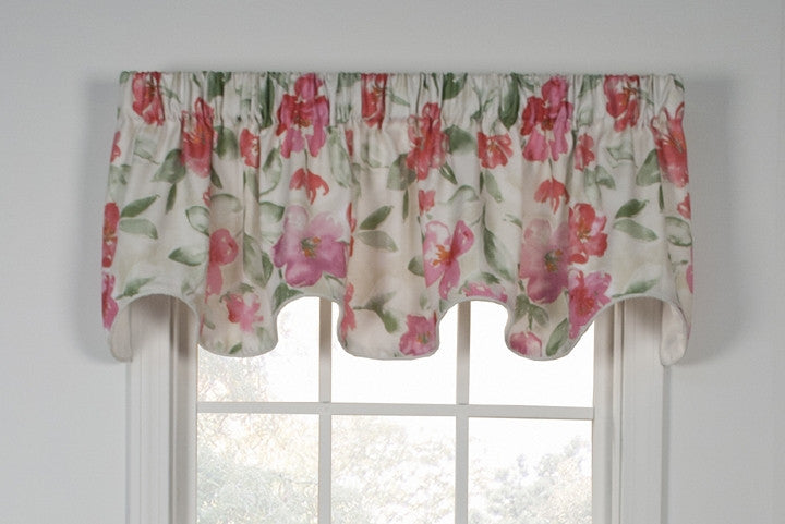 Arden Water Color Floral Print Lined Scallop Valance Window Curtain