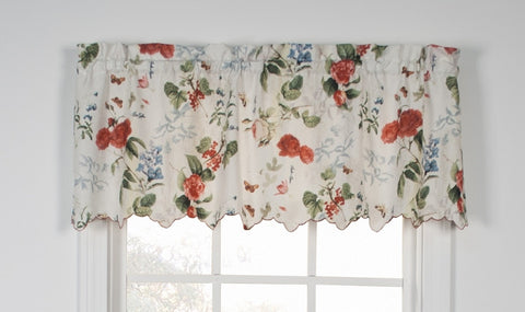 Botanical Floral Crushed Taffeta Fabric Valance Window Curtain
