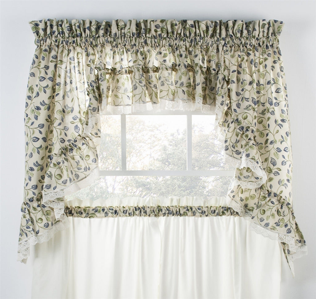 Clarice Colored Leaf Print Ruffled Swags Window Curtains Pair Window Toppers
