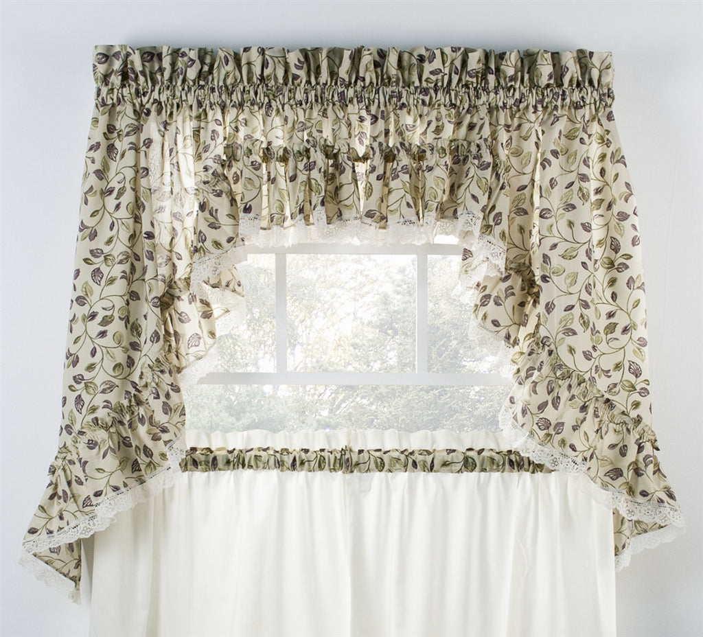 Clarice Colored Leaf Print Ruffled Swags Window Curtains Pair
