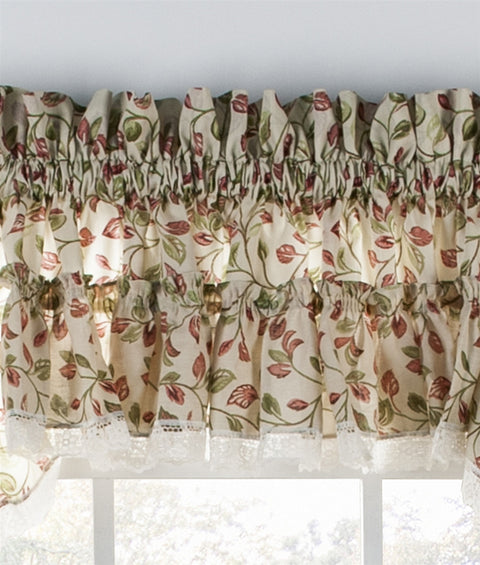 Clarice Colored Leaf Print Ruffled Valance Window Curtain