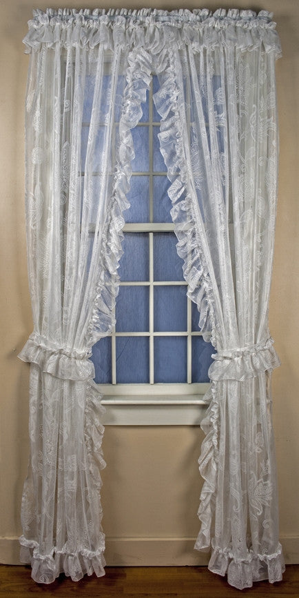Beverly Lace Ruffled Priscilla Window Curtains with Attached Top Ruffle and Tie Backs