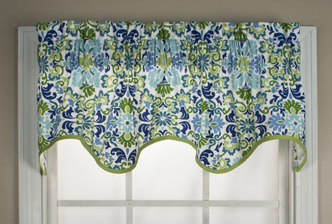 Folk Damask Print Wave Valance Window Curtain