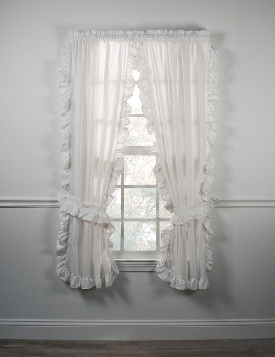 ... Country Cottage White Ruffled Cape Cod Valance Window Curtain
