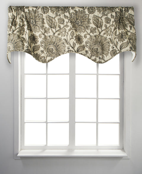 Florence Black Floral Print 100% Cotton Lined Scallop Valance Window Curtain