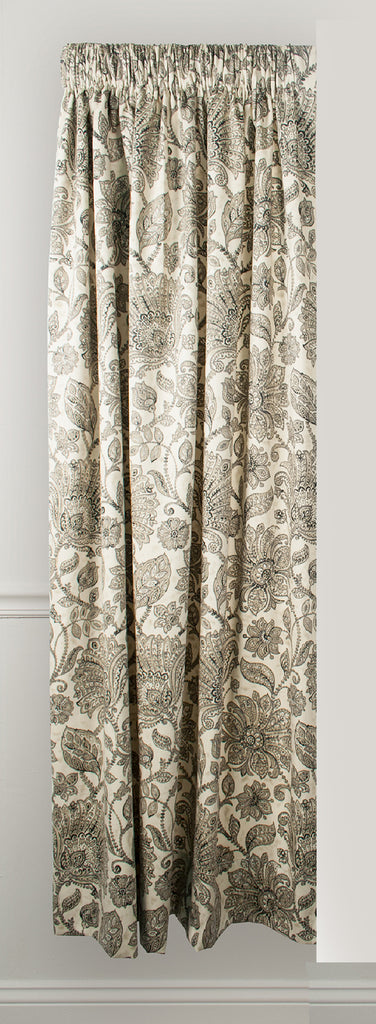 Florence Black Floral Print 100% Cotton Lined Panel Window Curtain