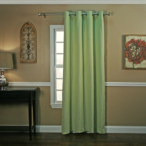 Landis Mini Check Lined Grommet Top Panel Window Curtain