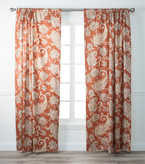Malang Distressed Paisley Print 100% Cotton Lined Panel Window Curtain