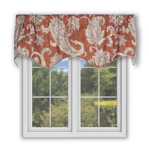 Malang Distressed Paisley Print 100% Cotton Lined Scallop Valance Window Curtain