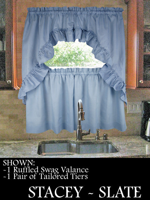 Stacey Solid Color Tailored Tiers Kitchen Window Curtains - Window Toppers