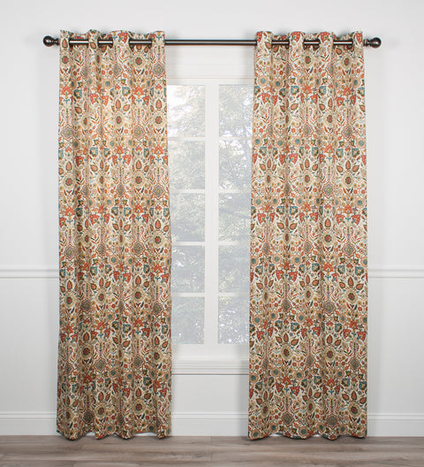 Adelle Medallion Print Grommet Panels Window Curtains Pair