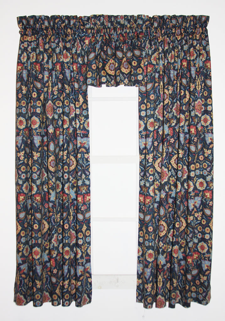 Adelle Medallion Print Curtains Collection | Window Toppers