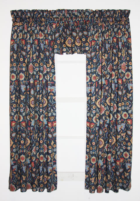Adelle Medallion Print 3 Piece Tailored Panels and Filler Valance Window Curtains Set