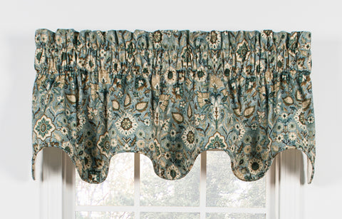 Adelle Medallion Print Lined Scallop Valance Window Curtain