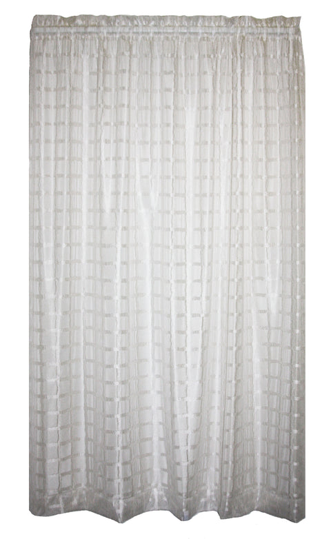 Alyssa 100% Polyester Lattice Batiste White Semi Sheer Panel Window Curtain