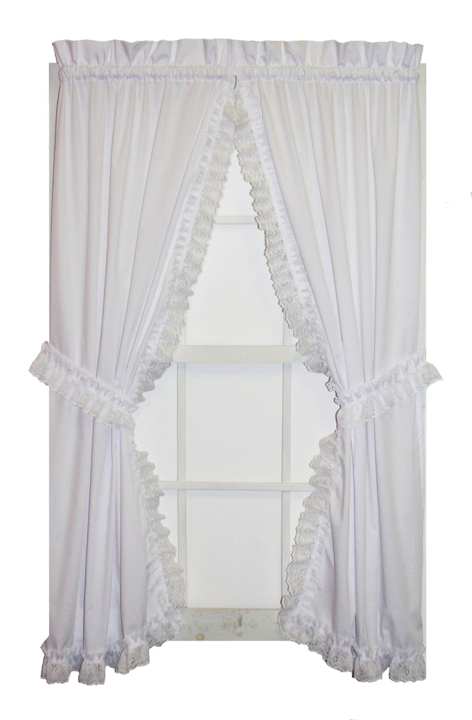 Cape Cod White Lace Ruffled Priscilla Window Curtains with tie backs