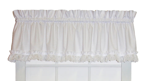 Cape Cod White Lace Ruffled Valance Window Curtain
