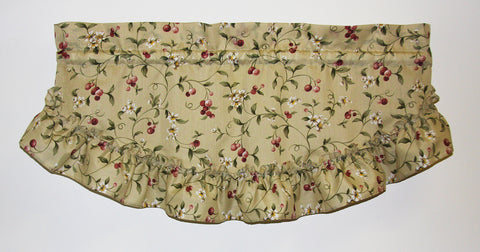 Cherry Blossoms Country Print Ruffled Filler Valance Window Curtain