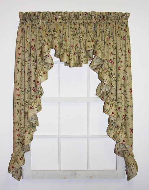 Cherry Blossoms Country Print 3 Piece Ruffled Swags & Filler Valance Window Curtains Set