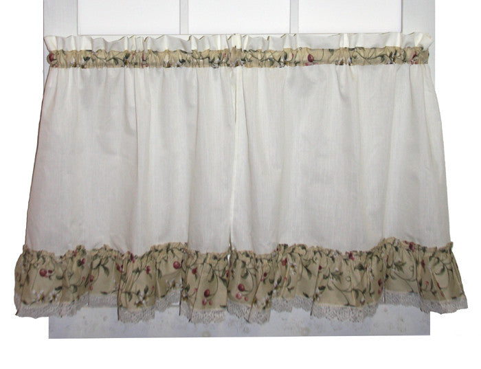 ... Cherry Blossoms Country Print Ruffled Swags Window Curtains Pair
