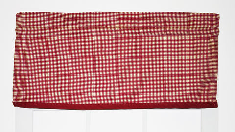Country Gingham Print Tailored Filler Valance Window Curtain