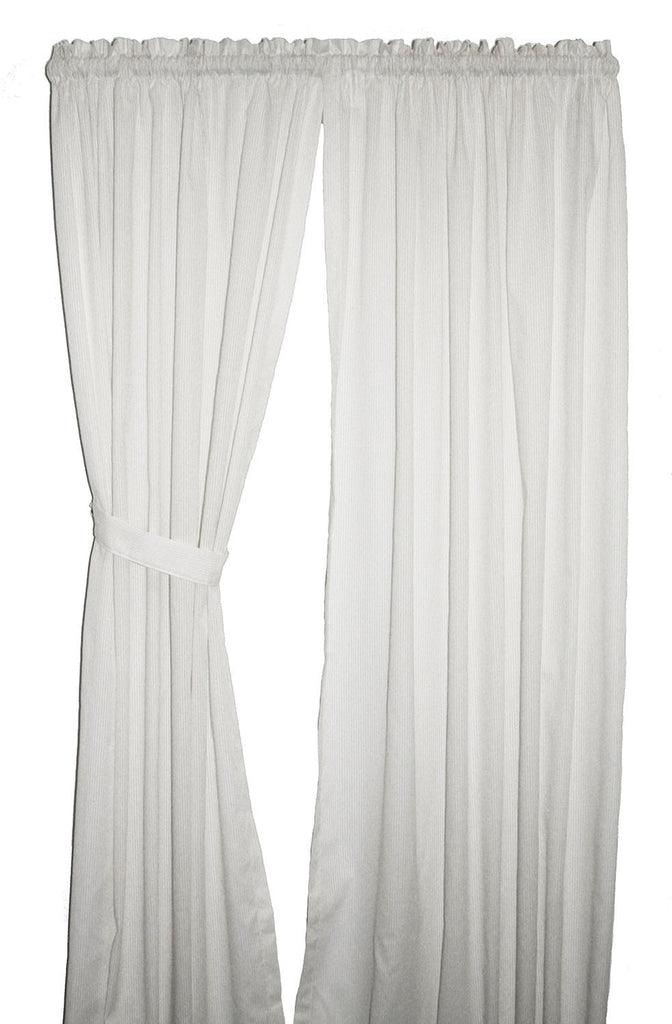 Kathleen Leno Stripe Semi Sheer Panels Window Curtains with Tie Backs