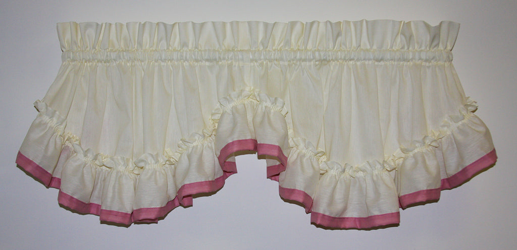 Lucy Country Ruffled Shaped Valance Window Curtain With Banded Edge Ruffle