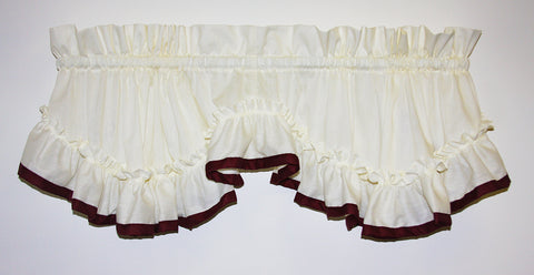 Lucy Country Ruffled Shaped Valance Window Curtain with Banded Edge Ruffle - Wine
