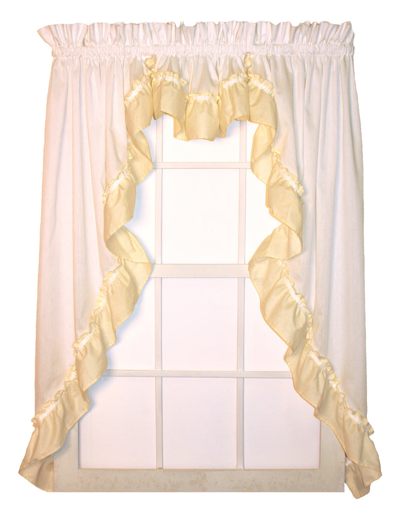 Lynn Curtains Collection   White Country Ruffled Curtains With Colored  Ruffle