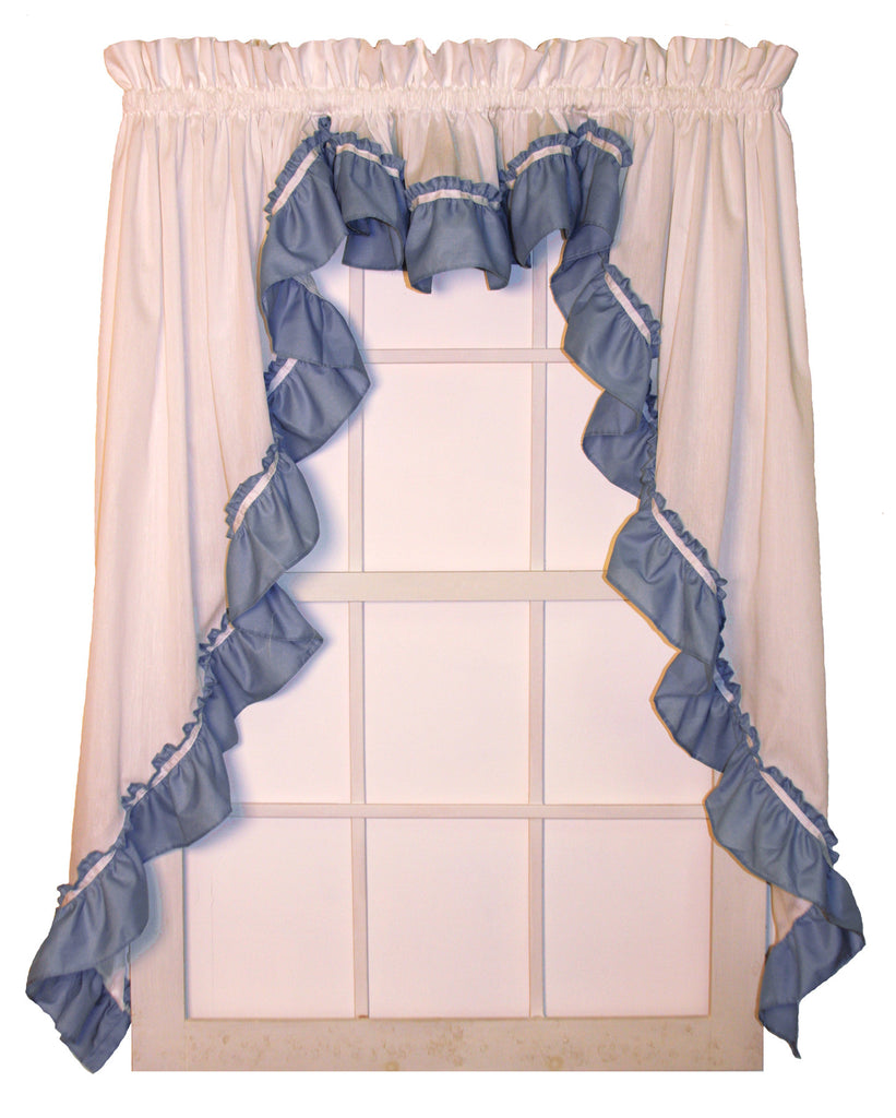 Lynn 3 Piece White Ruffled Swags & Filler Valance Window Curtains Set