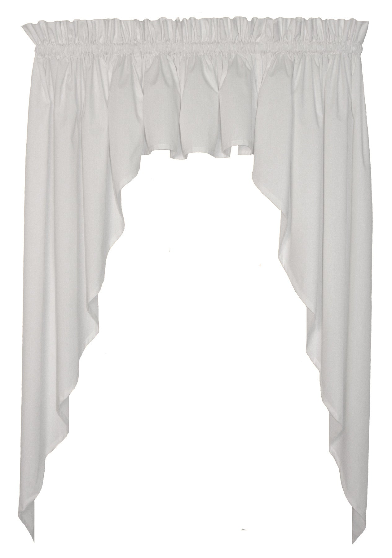 Martha Solid Color 3 Piece Tailored Swags Filler Valance Window Curtains Set