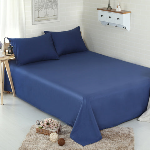 3pc Solid Color Bed Sheet Set 100% Cotton 500 Thread Count with Flat Bedsheet & Pillowcases - Twin/Queen/King Size