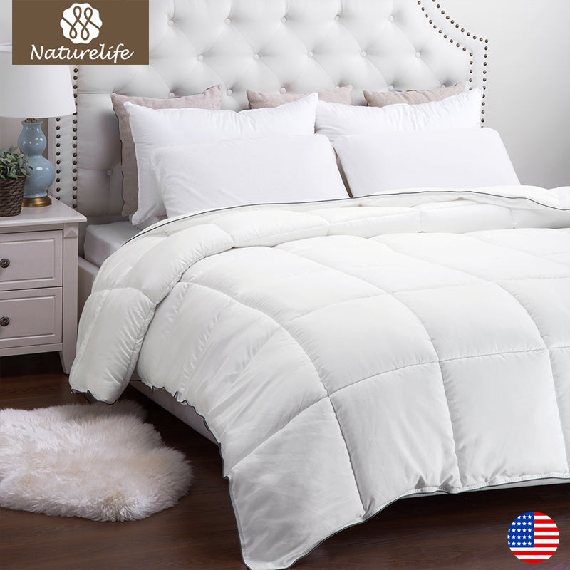 White down alternative bed comforter duvet insert twin queen king size window toppers for Home design down alternative color king comforter