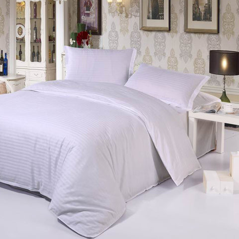 4 pc Hotel White Bedding Set 100% Cotton Solid Color Twill Pattern with Duvet Cover, Fitted Bed Sheet & Pillowcases - Twin/Queen/King/Cal King Size