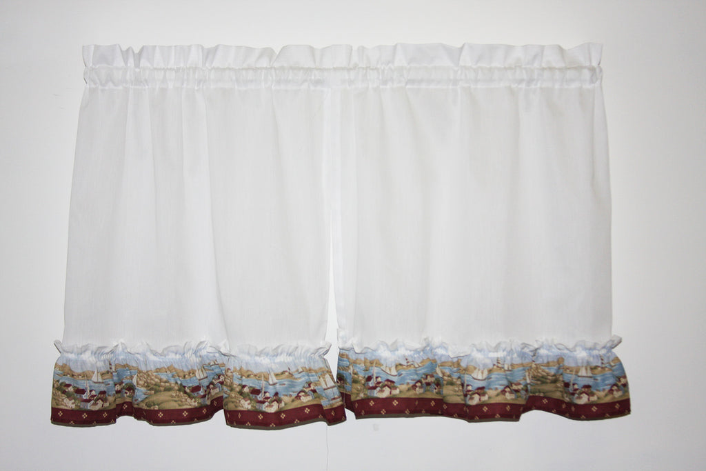 Seaside Village Ruffled Tiers Window Curtains