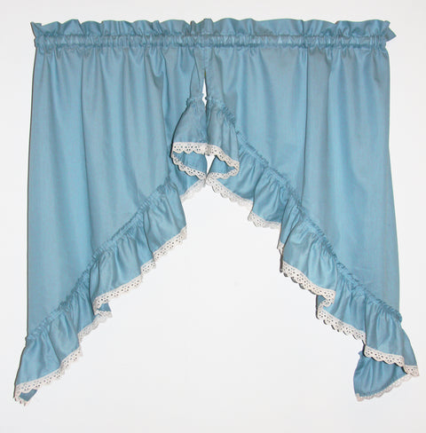 Stacey Anne Solid Color Ruffled Swags with Lace Accent Window Curtains Pair