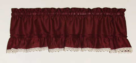 Stacey Anne Solid Color Ruffled Valance with Lace Accent Window Curtain
