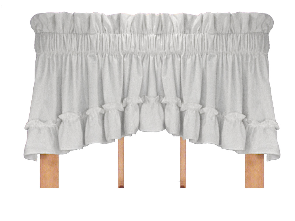 ... Stephanie Solid Color Country Ruffled Priscilla Window Curtains With  Bow Tie Backs ...